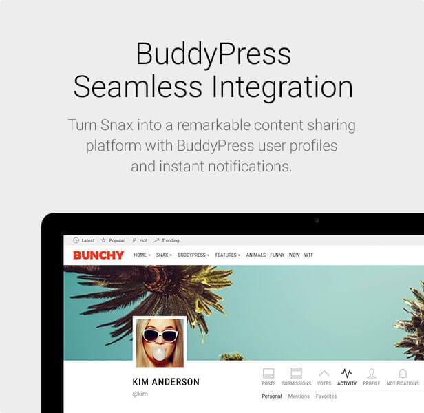 Snax - BuddyPress Integration